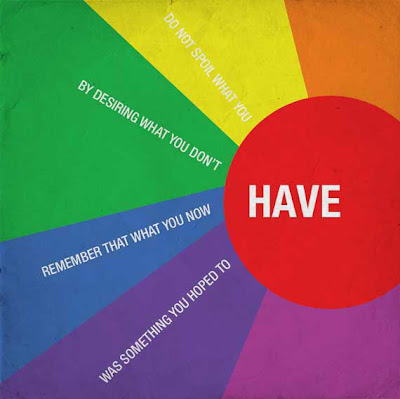 Do not spoil what you have by desiring what you don't have. Poster with rainbow colors