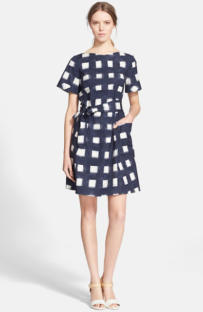 tory burch print poplin shirt dress gingham on sale