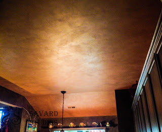 silk soft paint, rust metallic ceiling