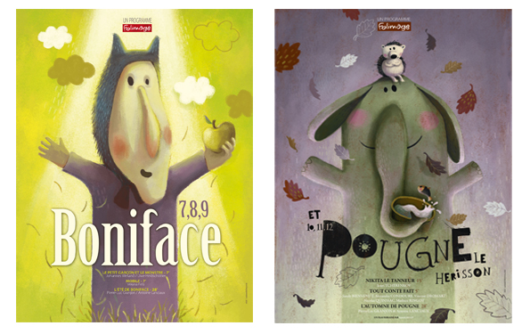 """Affichettes """"7,8,9 Boniface"""" et """"10,11,12 Pougne le hérisson"""" - ©Folimage"""