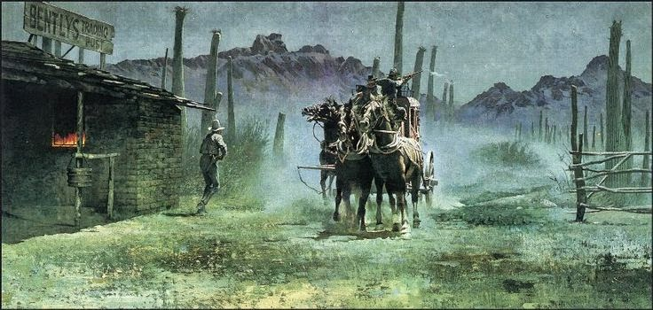 Western Painting of Stage Coach Robbery and Fire by Robert McGinnis