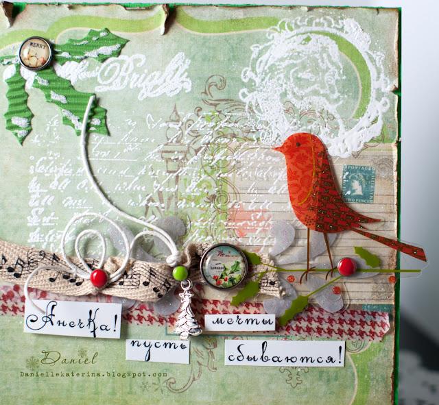 открытка на новый год с птичкой