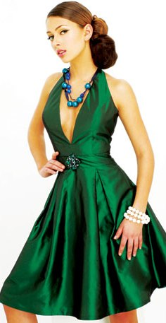green v-neck cocktail dress