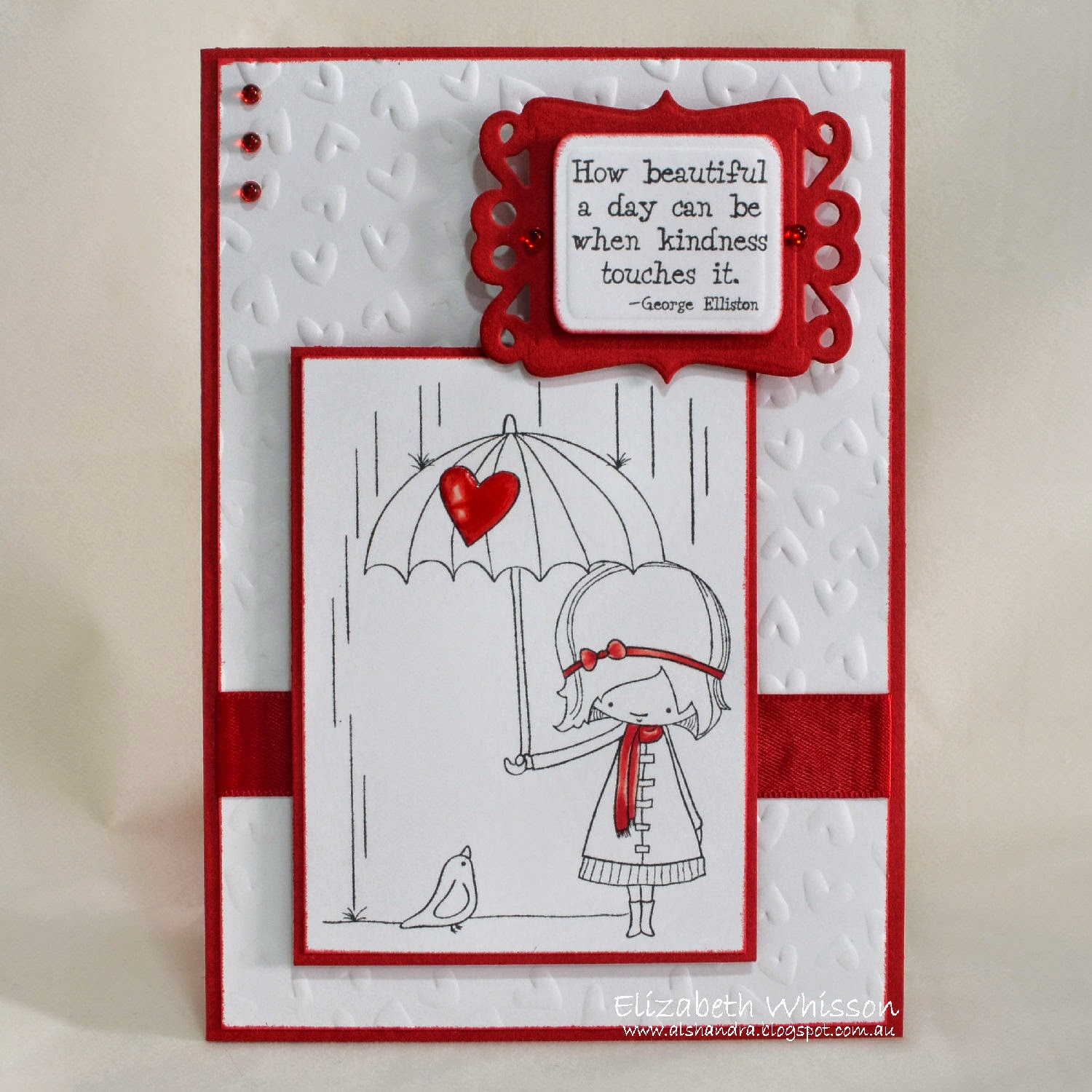 Elizabeth Whisson, AnnaBelle Stamps, A Beautiful Day, handmade card, copics, red and white