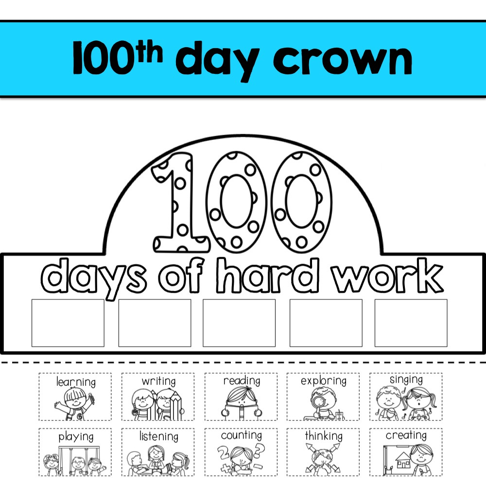 100th day hat template - k is for kinderrific