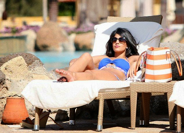 Jasmin Walia was snapped to enjoying her relaxing time on the poolside at Dubai on Thursday,‭ ‬April‭ ‬29,‭ ‬2014.
