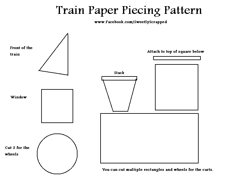 Train Template Train paper piecing pattern