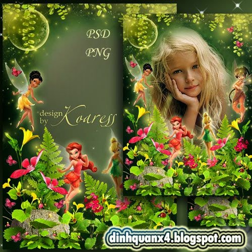 Childrens frame - Dance of fairies on the flower meadow