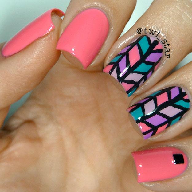 twi-star   Nail Art Blog: Lucky Lacquer - Fleur Rose chevron nail art
