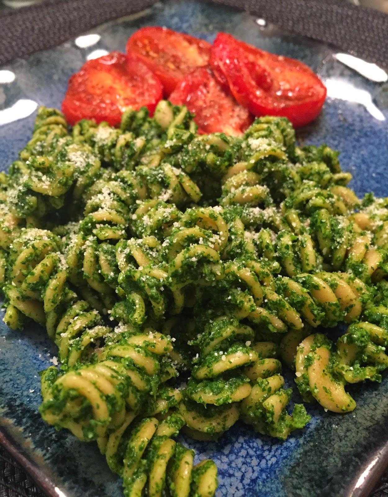 Rigatoni with Kale Pesto & Balsamic Tomatoes