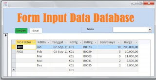 Form Input data database
