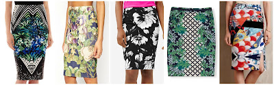 Bisou Bisou Scuba Print Pencil Skirt $21.99 (regular $38.00)  ASOS Pencil Skirt in Mirror Floral Print $25.00 (regular $45.00)  The Limited Printed Pencil Skirt $34.99 (regular $69.98) also in red  Boden Modern Pencil $61.60 (regular $88.00) there are 7 prints available starting at $44.00!  Anthropologie Maeve Tearoom Pencil Skirt $88.00 all 5 star reviews!