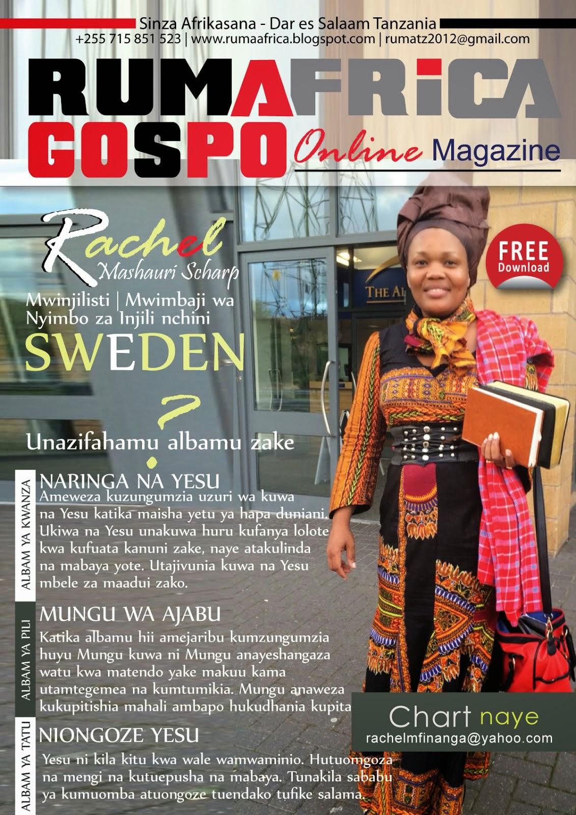 RACHEL SCHARP NDANI YA RUMAFRICA GOSPO Online MAGAZINE