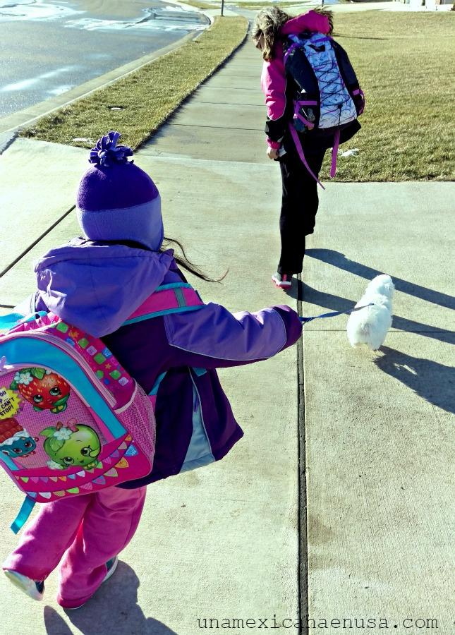 Paseando por la calle niñas con un cachorro de perro maltés.