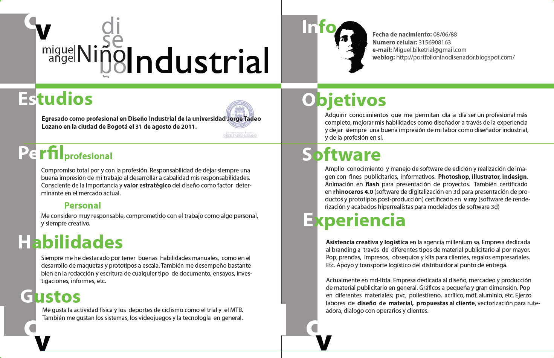 Pagina personal diseñador industrial Miguel Angel Niño: CV Miguel Niño