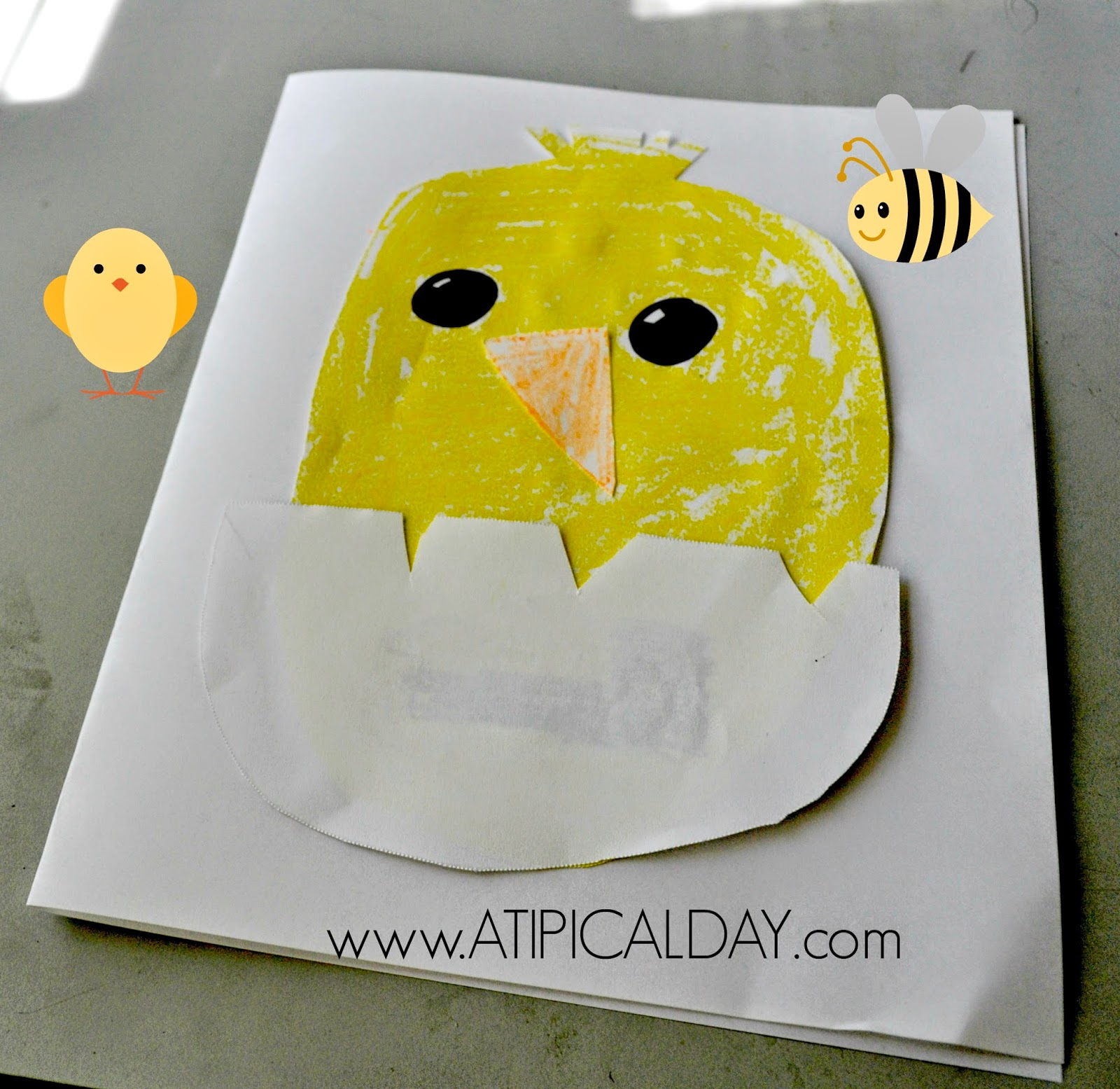 picture of a card made by a child with a baby chick hatching from an egg