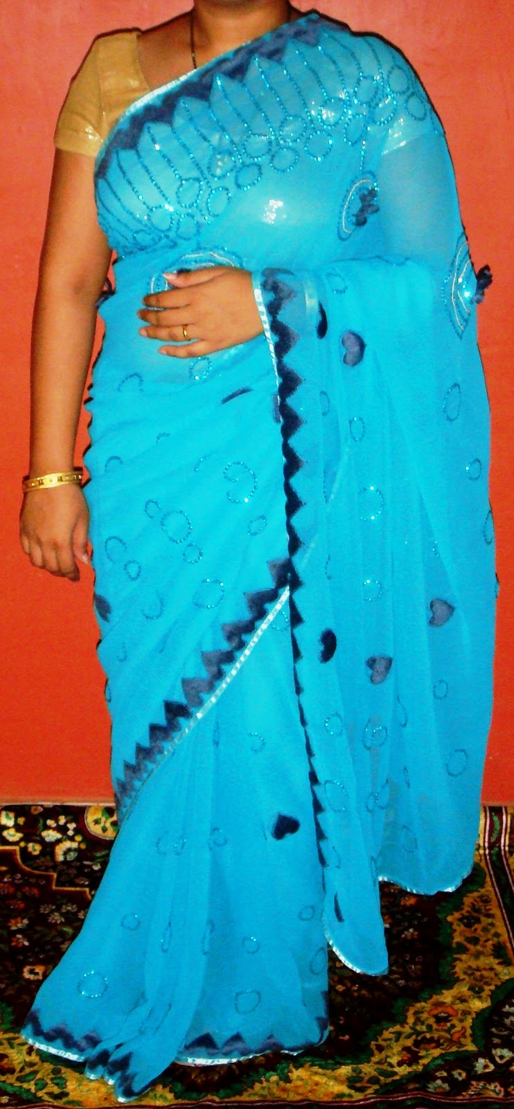 of aplic and sequences all over the saree designer pallu and aplic