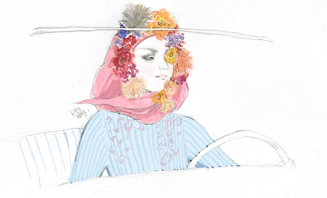 illustration drawing of grace kelly girl in pink floral headscarf driving in striped shirt