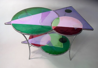 Stained glass table, Antique Table, Glass Table, Table