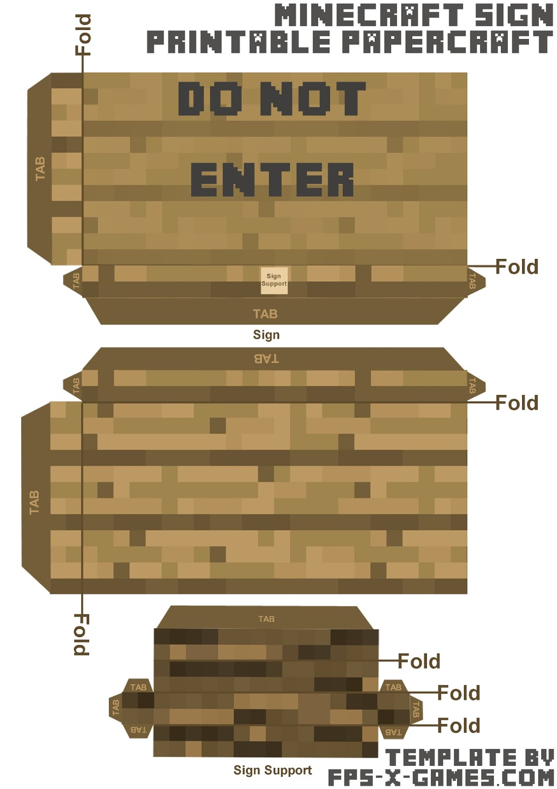 Minecraft papercraft do not enter sign template cut out