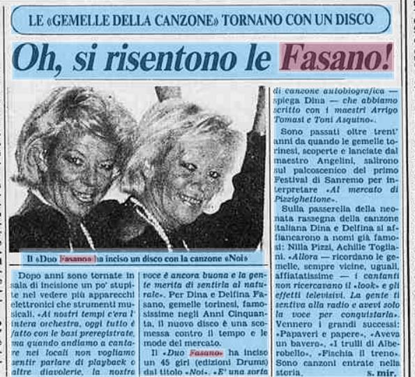 Le note di euterpe duo fasano noi io verr con te 1984 for Angelini arredamenti fasano