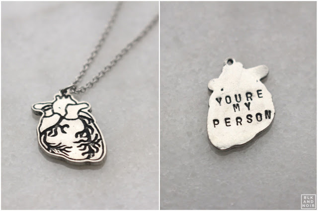 YOU'RE MY PERSON HUMAN HEART NECKLACE by BLK AND NOIR