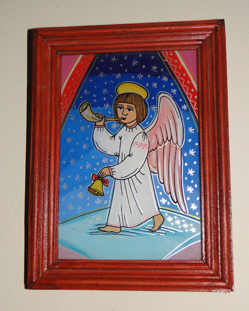 Christmas Angel Glass Painting by Yaroslav Adamovych, Lviv, Ukraine