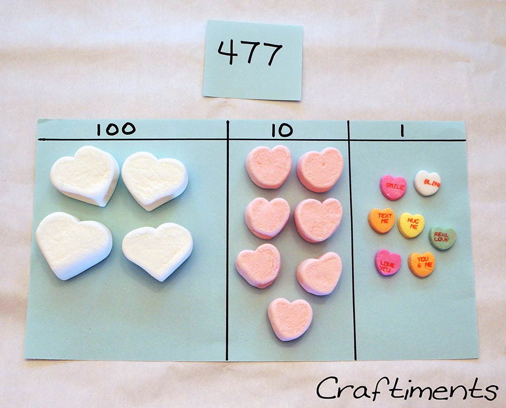 Craftiments:  Representing a number with candy hearts
