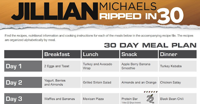 Looking for Jillian's Ripped in 30 Meal Plan?