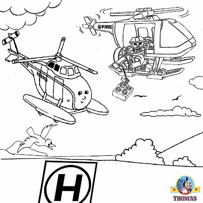 Free printable Thomas the tank engine helicopter Harold and helicopter Lego coloring sheets for boys