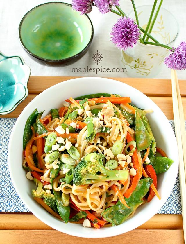 Rice Noodle Stir Fry with Peri-Peri Coconut Cream Sauce. Vegan and Gluten-Free Recipe.