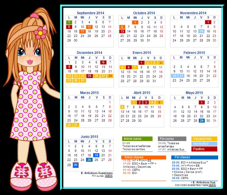Calendario escolar 2014- 2015