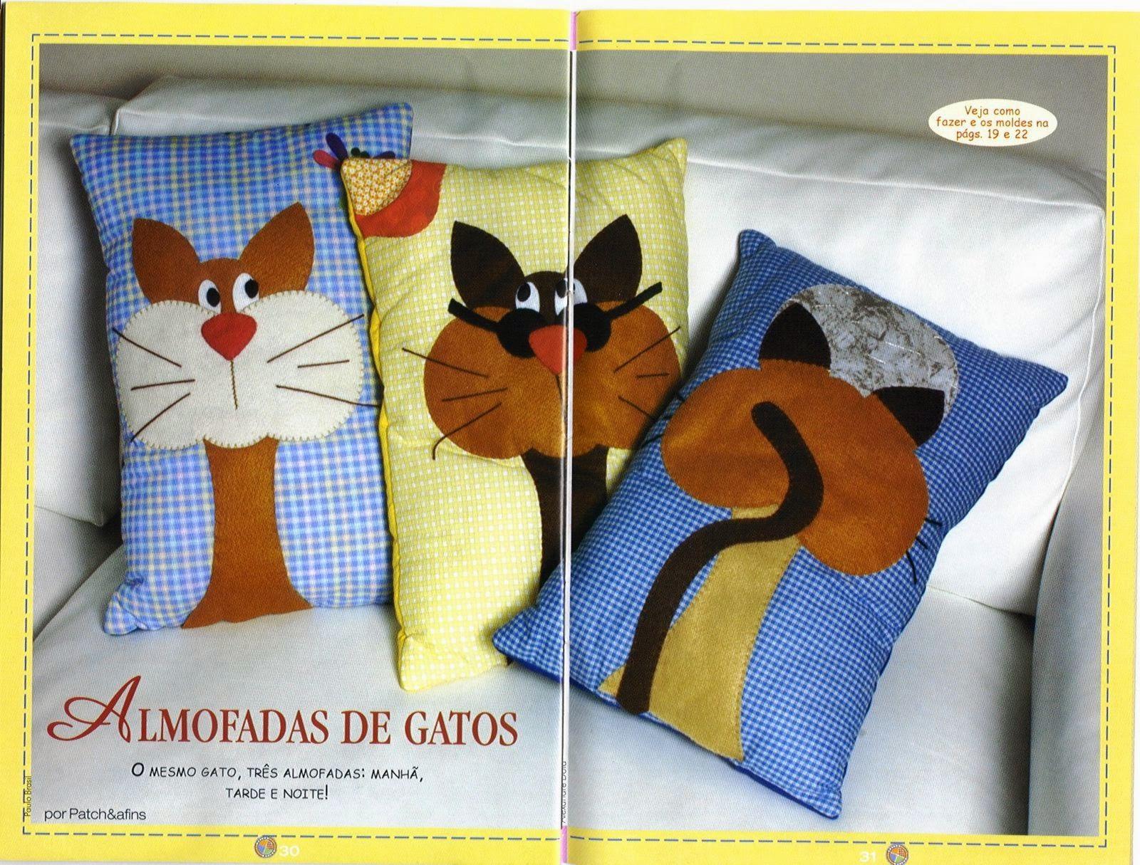 Almofada de gatinho com moldes