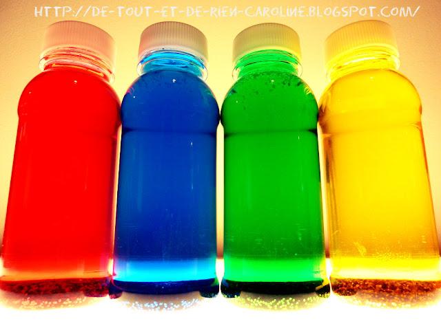De tout et de rien activit s pour le pr scolaire bouteilles de d couverte couleurs primaires - La bouteille sur la table ...