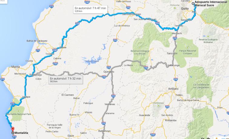 llegar a montañita ecuador
