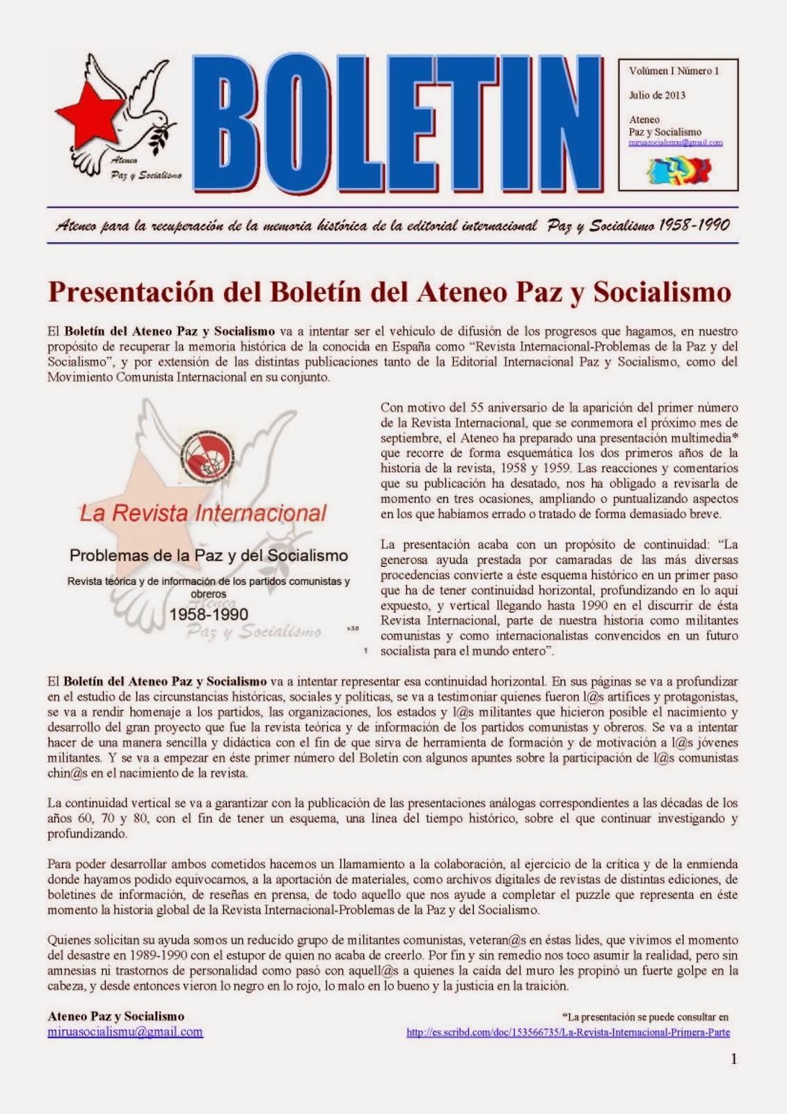 BOLETIN DEL ATENEO PAZ Y SOCIALISMO