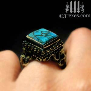 Gothic Dark Brass Raven Love Cocktail Ring with Blue Copper Turquoise