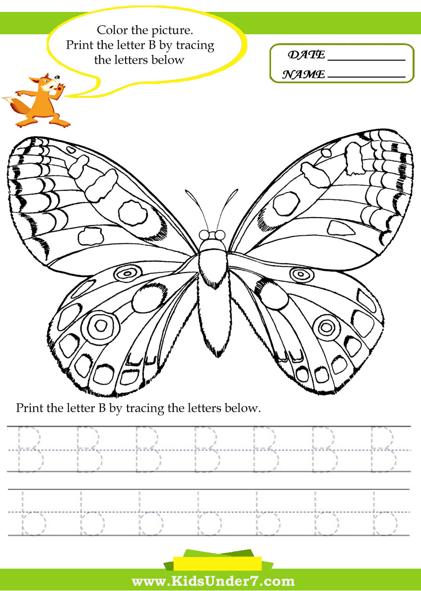 kids under 7 alphabet worksheets trace and print letter b
