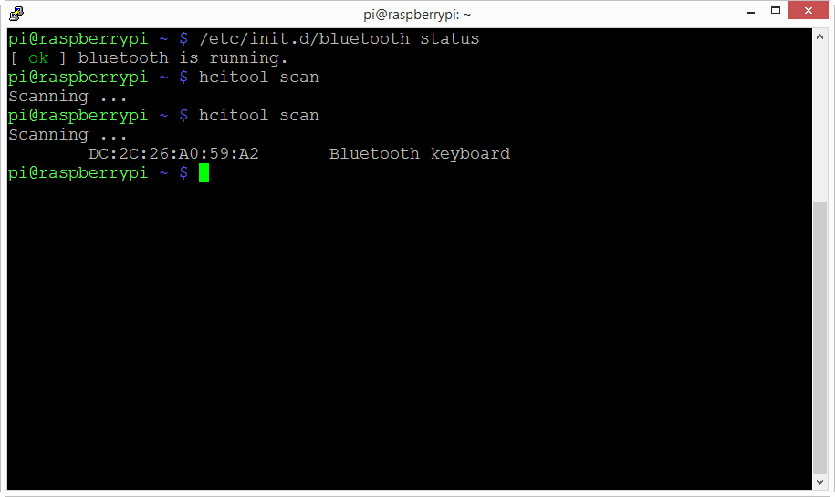raspberry pi how to get bluetooth mac address