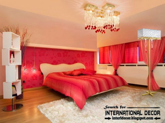 color combinations with red in the bedroom 2015, red curtains and linens