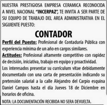 Incerpaz busca incorporar a un Contador