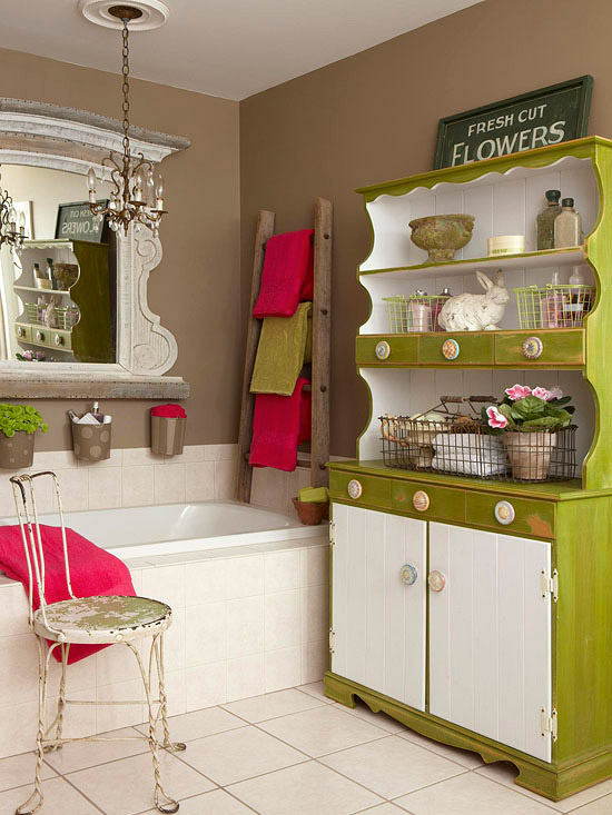 Tips for using flea market finds in decorating cozy for Home and garden bathroom ideas