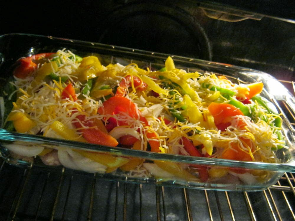 Chicken Fajitas baking in the oven. A delicious recipe that not only looks good, it's good for you!