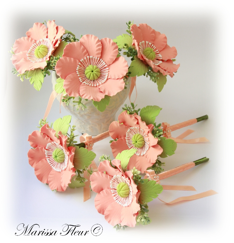 Touch Of Beauty Coral Color Wedding Flowers
