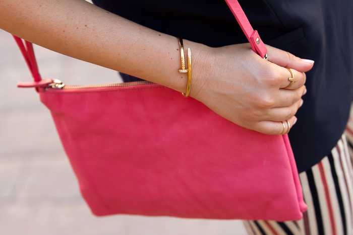 Nail Cuff Bracelet and Pink Céline Trio Bag inspired by Zara