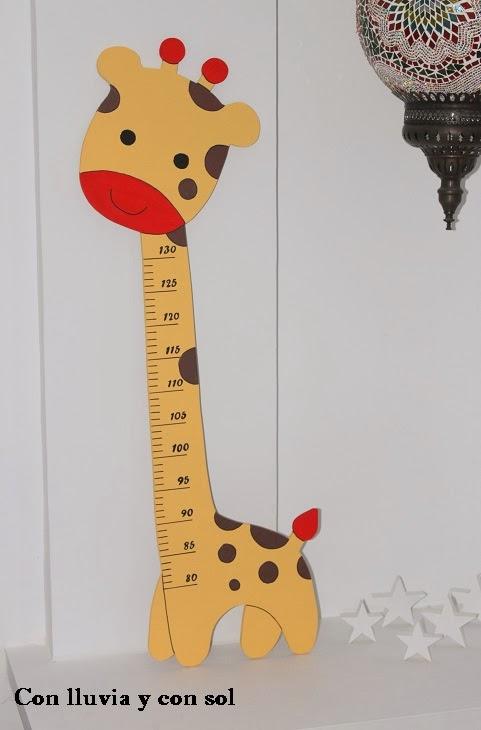 Con lluvia y con sol medidor de madera jirafa para la - Medidor infantil madera ...