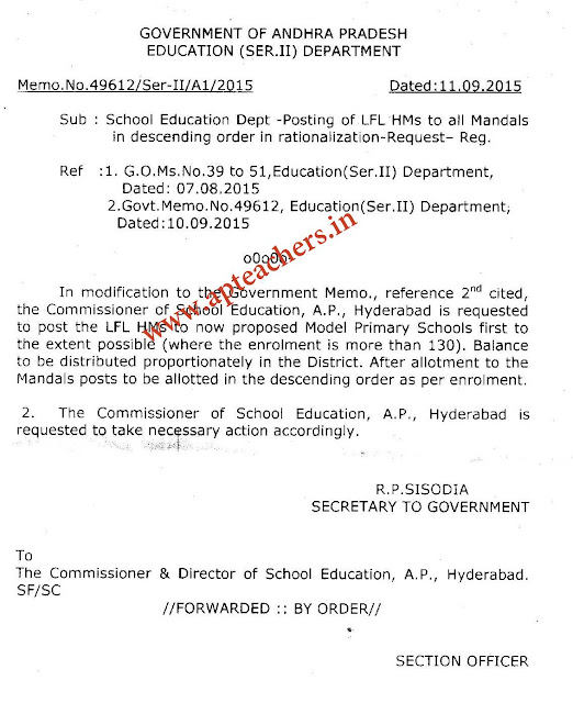 LFL HM Posts Adjustment Latest Instructions Memo 49612 Date 11.9.15