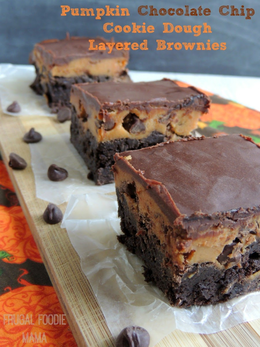 Pumpkin Chocolate Chip Cookie Dough Layered Brownies- thick, fudgy brownies covered in a pumpkin chocolate chip cookie dough, & then topped with a simple chocolate ganache
