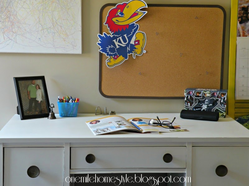 Study Space in Kid's Room - Refinished White and Navy Desk
