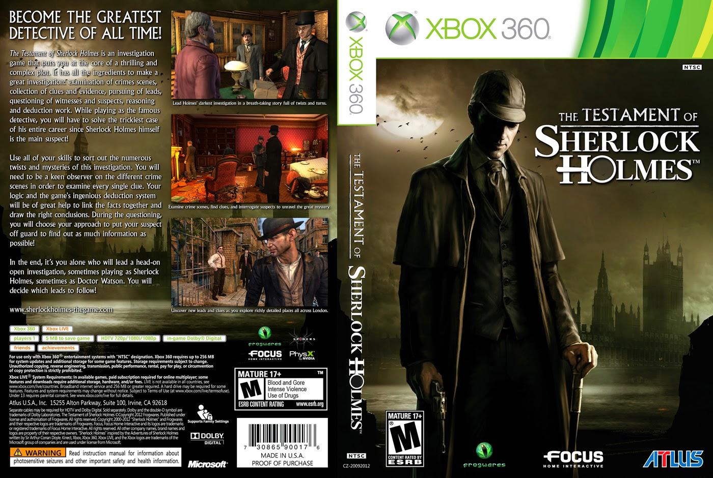 Capa The Testament of Sherlock Holmes XBOX 360